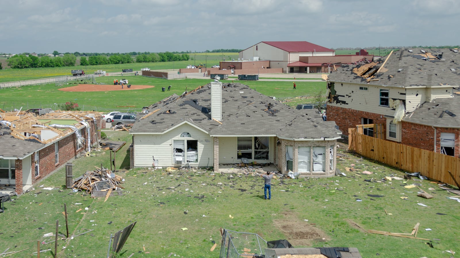 A house in the Diamond Creek subdivision damaged by the tornado