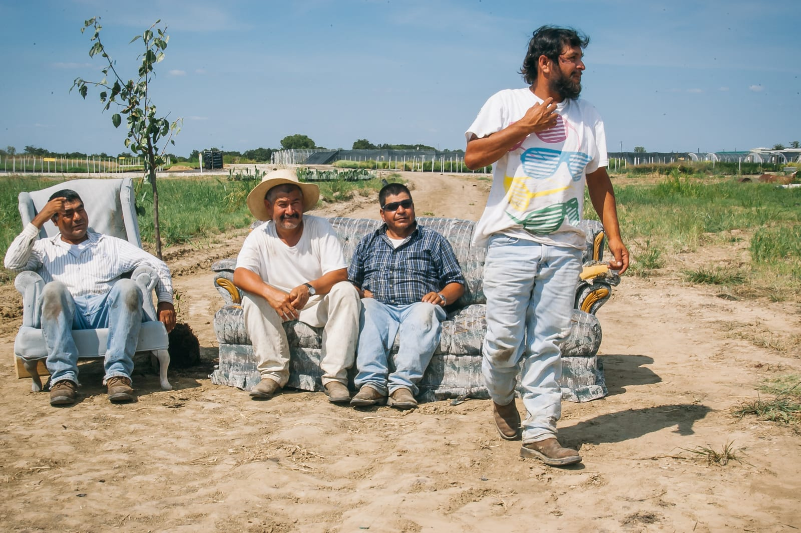 Mexican farmworkers on a tree farm in East Texas