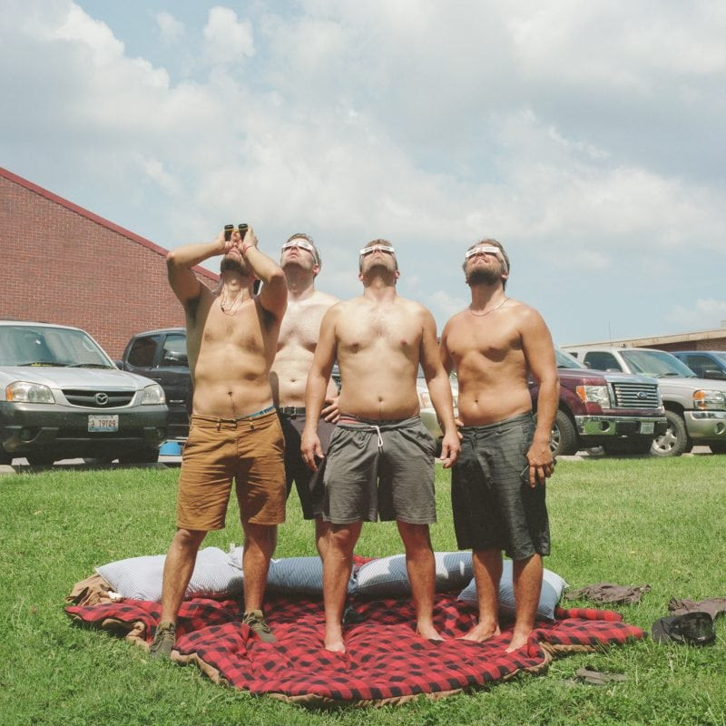 Brothers watching the total solar eclipse at SIU in Carbondale, Illinois