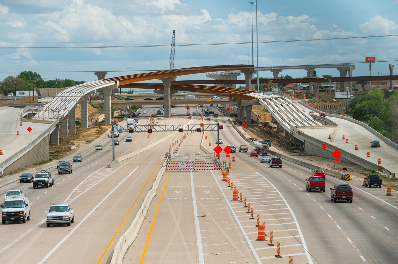 Massive highway bridges under construction