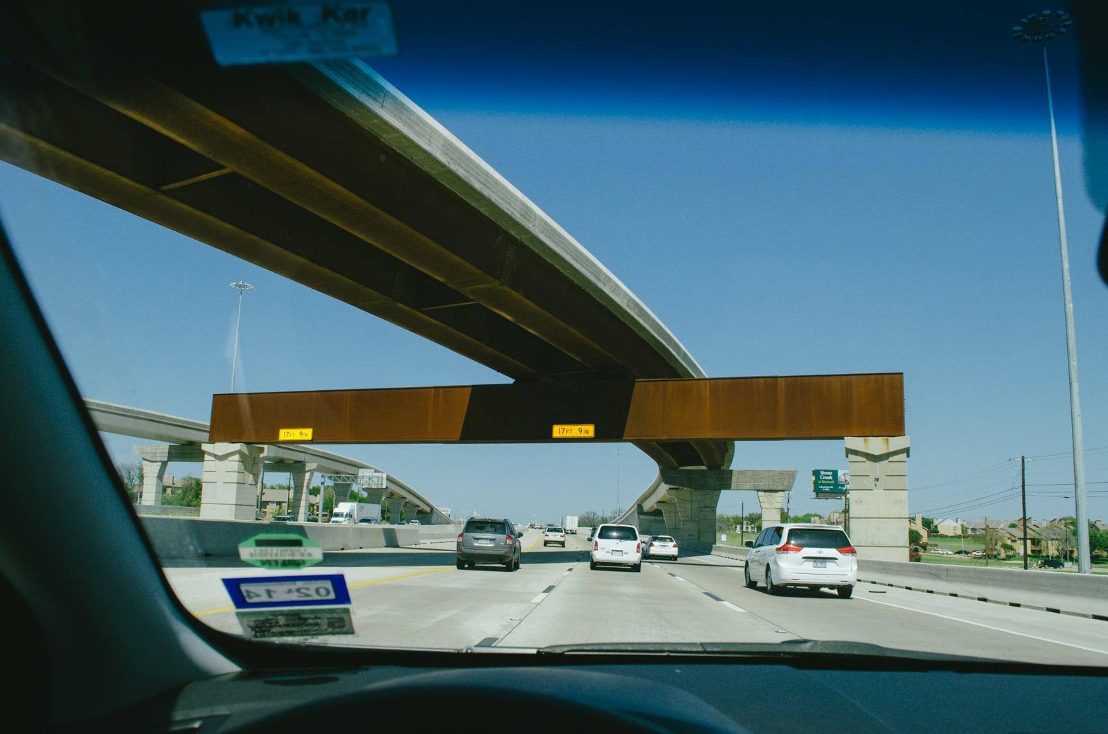 Driving under a bridge on 635