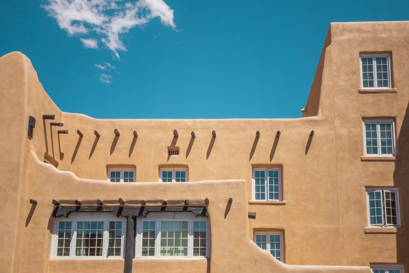Pueblo style adobe building in Santa Fe