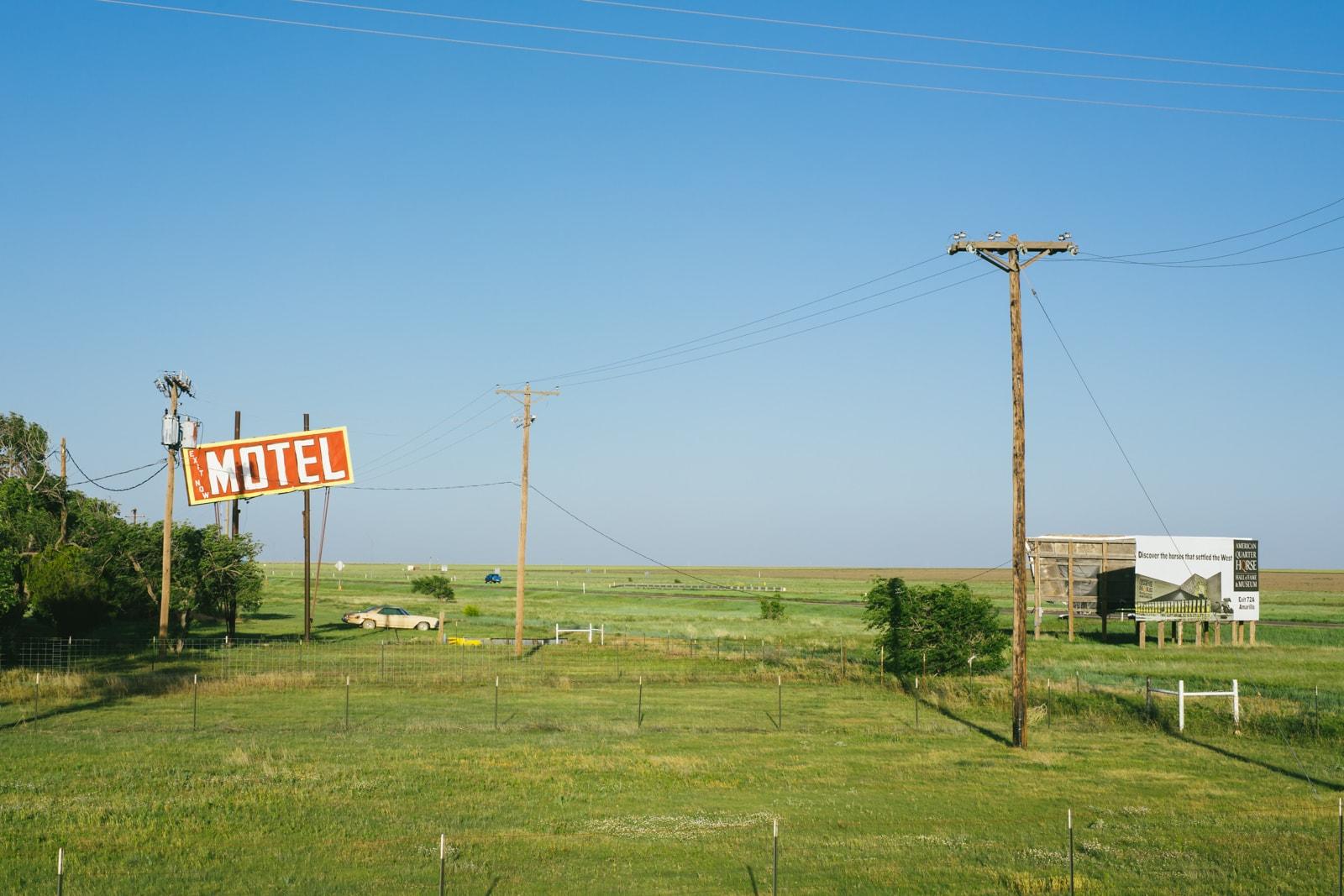 Vintage motel sign in Adrian, Texas