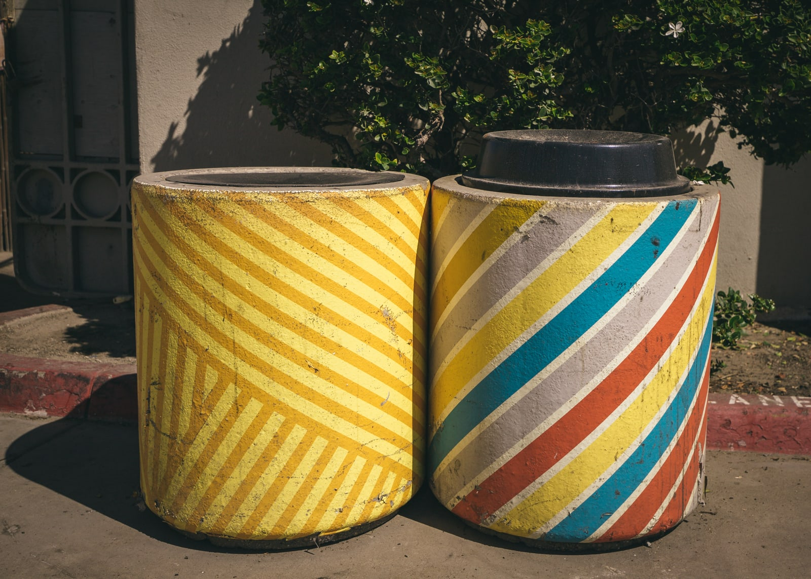 Colorful trash cans at Ocean Beach