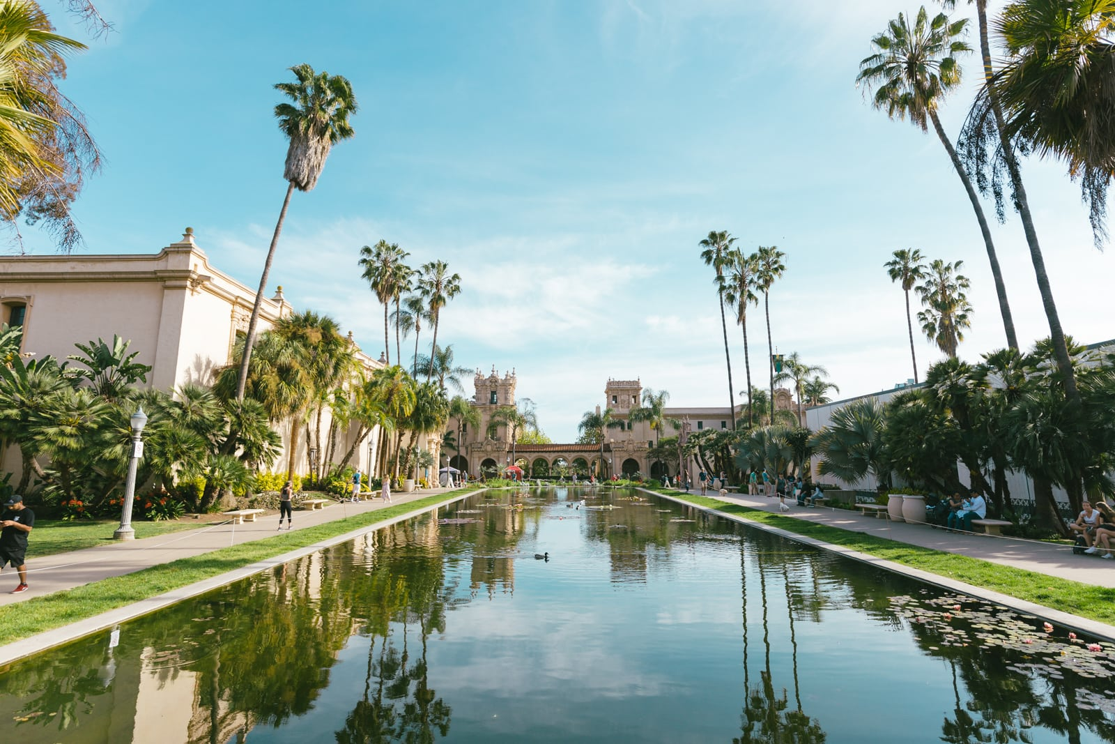 Reflection Pool also called Lily Pond at Balboa Park in San Diego, California
