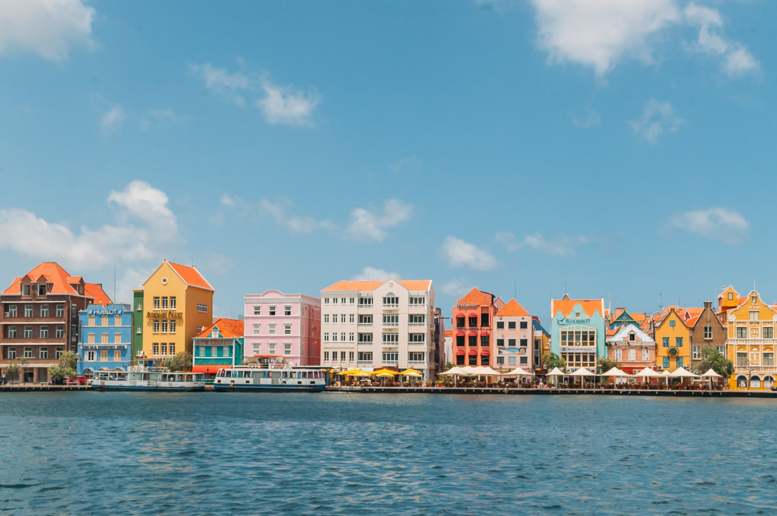 The colorful buildings of the Handelskade in Willemstad, Curaçao