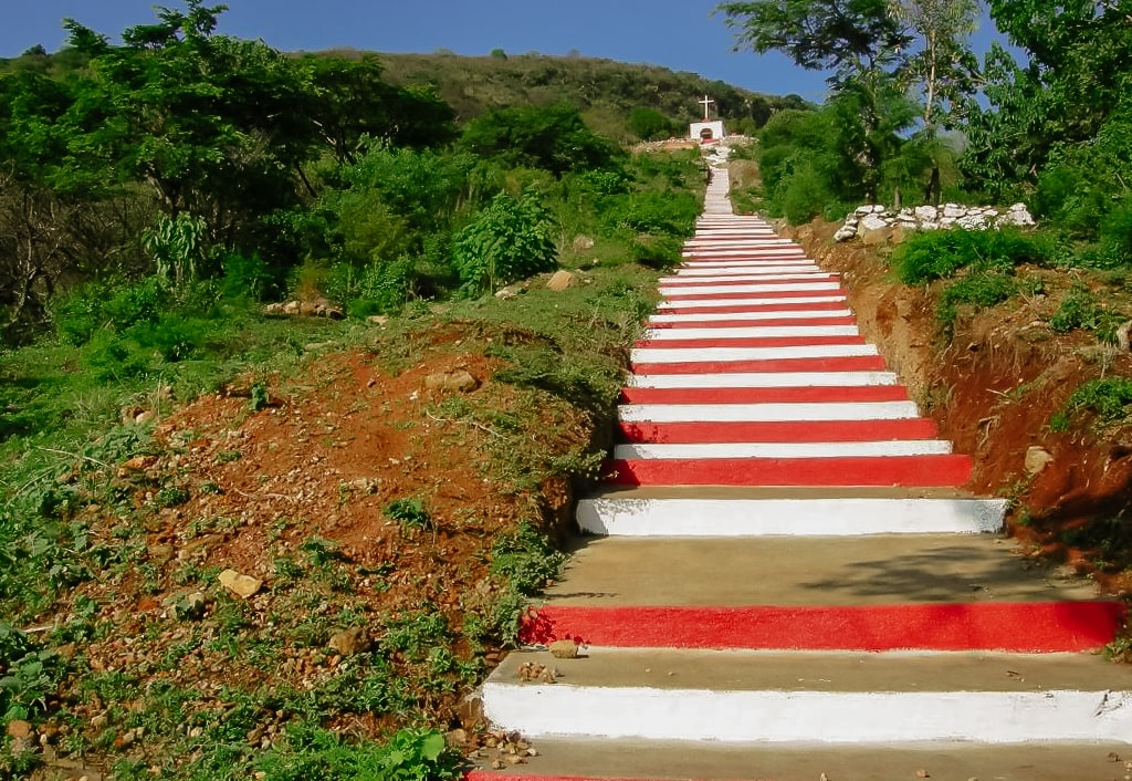 Red and white stairs to a catholic shrine in Ixtlahuacan, Jalisco